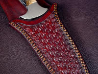 """Weave and Tuck"" basketweave sheath tooling pattern on Cygnus-Horrocks Magnum custom handmade knife"