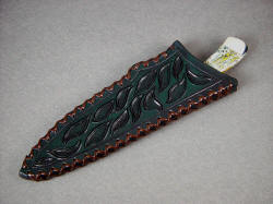 """Cygnus"" chef's knife, kitchen knife, utility knife, sheathed view. Sheath is deep, thickly made and strong, hand-carved and tooled, hand-laced leather"