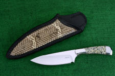 """Cygnus ST"" obverse side view in 440C high chromium stainless steel blade, 304 stainless steel bolsters, Dalmatian Stone gemstone handle, Cobra skin inlaid in hand-carved leather sheath"