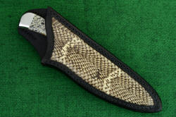 """Cygnus ST"" sheathed view. Sheath is very deep and protective, full panel inlay of real cobra skin accents handle and ensemble"