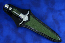 """Daqar"" dagger, sheathed view. Sheath is bold and tough, inlaid with full panels of green rayskin"
