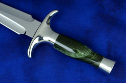 """Daqar"" dagger, obverse side handle view. Nephrite jade gemstone is very tough and resilient, taking a beautiful polish"