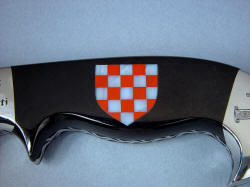 """Duhovni Ratnik"" obverse side handle detail. Gemstone mosaic inlaid in Australian black jade knife handle"