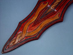 """Duhovni Ratnik"" sheath back detail, all hand-carved, hand-dyed leather"