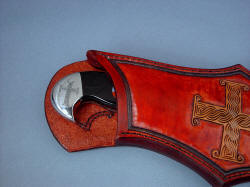 """Duhovni Ratnik"" sheath mouth detail. Substantial knife and sheath are legacy pair"