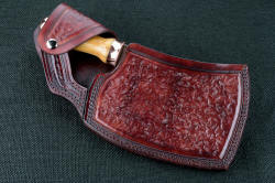 """Edesia"" fine handmade chef's cleaver, sheathed view. Elegance and simplicity come together in this double flap retention sheath with double row polyester stitching through heavy leather shoulder"