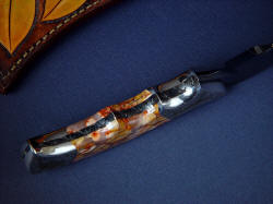 """Flamesteed"" inside handle tang view. Bolsters are dovetailed, all surfaces are contoured, finished, and polished for comfort"