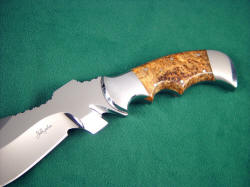 """Flamesteed"" tactical survival knife: obverse side handle detail. Blade is complex and versatile"