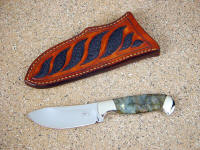 """Fornax"" nessmuk style blade in 440C stainless steel blade, nickel silver bolsters, Labradorite gemstone handle, black stingray skin inlaid in leather sheath"