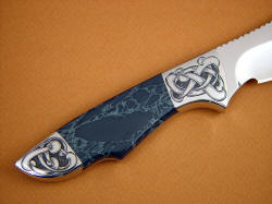 """Furud"" reverse side knife handle detail. Spiderweb Obsidian is blue-gray with green-gray webbing"