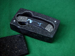 """Gemini"" fine linerlock handmade folding knife in case of Black Galaxy Granite lined with black suede leather"