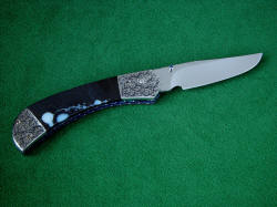 """Gemini"" reverse side view. Lines of blade are elegant, choil is sculpted, edged is razor-keen"