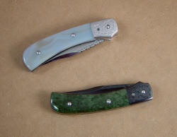 Closed view, Gemini liner lock folding knives