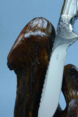 """Golden Eagle"" fine handmade custom knife and stand, maker's mark on hollow ground, mirror polished blade"
