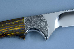 """Golden Eagle"" 3 power enlargement of the reverse side front bolster. Strong, punchy design is permanently engraved in tough stainless steel"