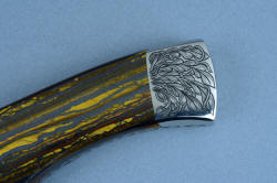 """Golden Eagle"" obverse side rear bolster detail, 3 power enlargement. The linear design is carried from the gemstone handle scales to the bolsters"
