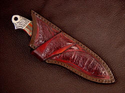"""Grus"" Sheath detail. Note crossdraw and inlays of burgundy ostrich skin in hand-carved leather"