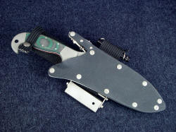 """Hania"" sheathed view. knife and wearer are well-protected in the finest locking knife sheath made in the world."