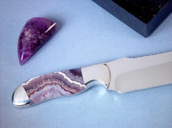 """Hestia"" reverse side handle detail: Note beautiful hand-polished amethyst gemstone accenting chef's knife"