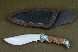 """Hooded Warrior"" obverse side view, shown with collector's display sheath in ostrich leg skin inlay in burgundy leather"