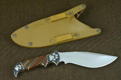 """Hooded Warrior"" coyote locking sheath back is engraved for mounting instructions with modular sheath wear system"