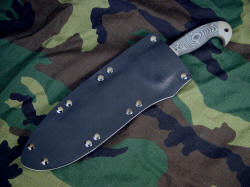 """Horrocks"" custom tactical combat knife, sheathed view. Sheath is tension fit, deep and protective, yet allows easy handle grab."