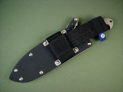 """Horrocks"" optional sheath extender, reverse view. Extender allows lower, more comfortable and accessible ride of knife sheath on belt"