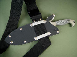 """Horocks"" combat tactical knife with sternum harness (sash), which allows knife sheath to be worn upside down across chest."