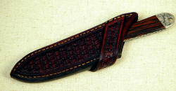 "The ""Horseman"" sheathed view. Sheath is made for riding, is cross draw, tight and comfortable"