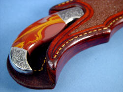 """Izanagi"" sheath mouth and ramp detail. Sheath is thick, hand-stitched, lacquer sealed."