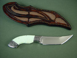 Izanami handmade knife- reverse side view. Note rayskin inlays on back of sheath and belt loop.