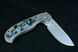 """Izar"" linerlock folding knife, reverse side view. Knife has great lockup, excellent dentent pulling it and holding it closed."
