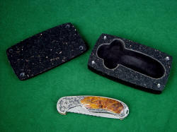 """Izar"" and case. Case is granite, carved and inlayed with black suede leather for safe keeping of the knife"