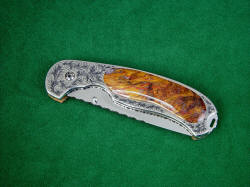 """Izar"" liner lock folding knife, obverse side, closed view. This is actually a 2 power enlargement!"