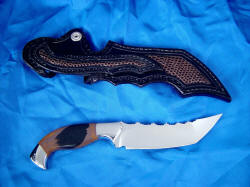 """Izumi"" custom collectors knife, reverse view. Note full inlay on sheath reverse, even in belt loop."