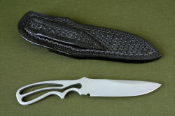"""Creature EL"" Skeletonized knife reverse side view. Note that the sheath back and belt loop are all tooled."