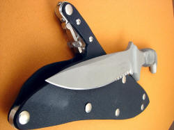 """Macha Navigator"" collaborative knife by James Beauchamp and Jay Fisher, sheath throat, blade tip detail"