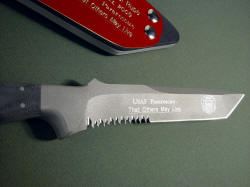 """PJLT"" USAF Pararescue PJ collaborative knife, custom engraving detail on blade reverse with Pararescue angel"