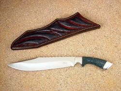 """Jungle Bowie"" 440C high chromium stainless tool steel blade, 304 stainless steel bolsters, Indian Green Moss Agate gemstone handle, ostrich leg skin inlaid in leather sheath"