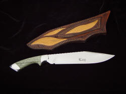 """Jungle Bowie"" reverse side view. Note custom etching in hollow ground blade, inlays on sheath back in Emu"