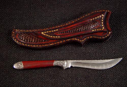 """Kineau"" reverse side view. Even the rear of the sheath and belt loop are inlaid with lizard skin"