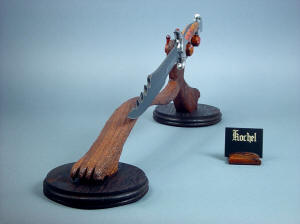 """Kochel"" front left display view. Knife and stand are complimentary artwork, all handmade and original in tool steel, hardwoods, and gemstone"