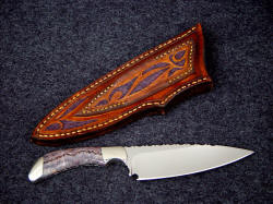 """La Cocina"" chef's kitchen knife for fruits and vegetables, smaller chores. Note the beautful thin hollow grind, the striking gemstone handle, and the sheath tooling and carving on the back"