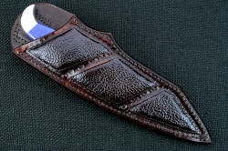 """Lethal Chance"" sheathed view. Sheath is deep and protective, with large inlaid panels of Buffalo (American Bison) skin"