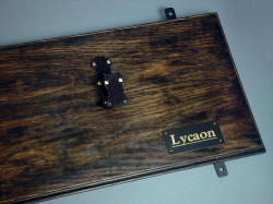 """Lycaon"" backboard/mount detail showing strong steel hangers solidly bolted to the backboard to reliably secure sharp broadsword, with engraved brass lacquered nameplate"