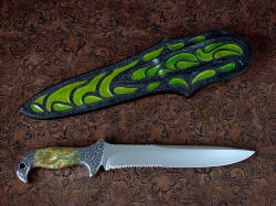 """Macha Navigator EL"" reverse side view. Knife is large and bold, sheath is completely hand-tooled, carved and hand-dyed throughout, even on the back and belt loop"
