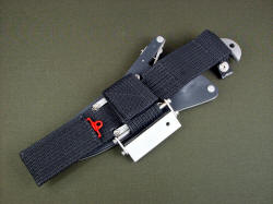 """Macha Navigator"" reverse sheath belt loop extender detail. Extender allows more traditional wear of knife and sheath, and is made of polypropylene and nylon, waterproof and extremely strong"