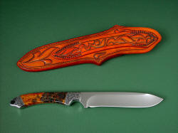 """Magdalena Magnum"" reverse side view. Back of sheath is completely tooled, note zigzag stitching on tough, long belt loop."
