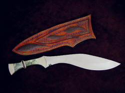 """Maginus-Nasmyth"" khukri, reverse side view. Note double stitching in sheath even in belt loop for additional security and strength"