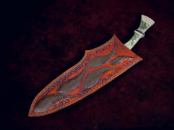 """Maginus-Nasmyth"" khukri, sheathed view. Note extension of handle for easy withdrawl from sheath"